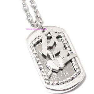 Steel love plate necklace, (jn130)